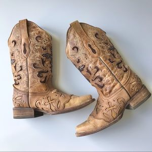 Corral Inlay leather Western Cowboy Boots Sz 7